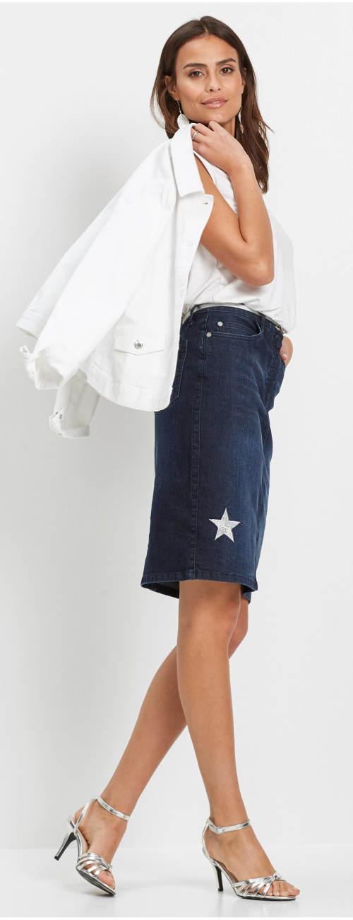 Dámská džínová sukně s hvězdami