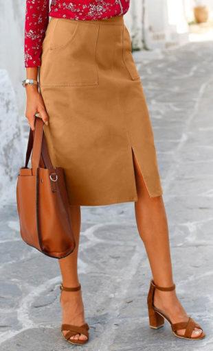 Hebká karamelová sukně ke kolenům