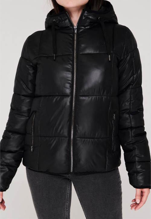Jednobarevná černá dámská zimní bunda do pasu