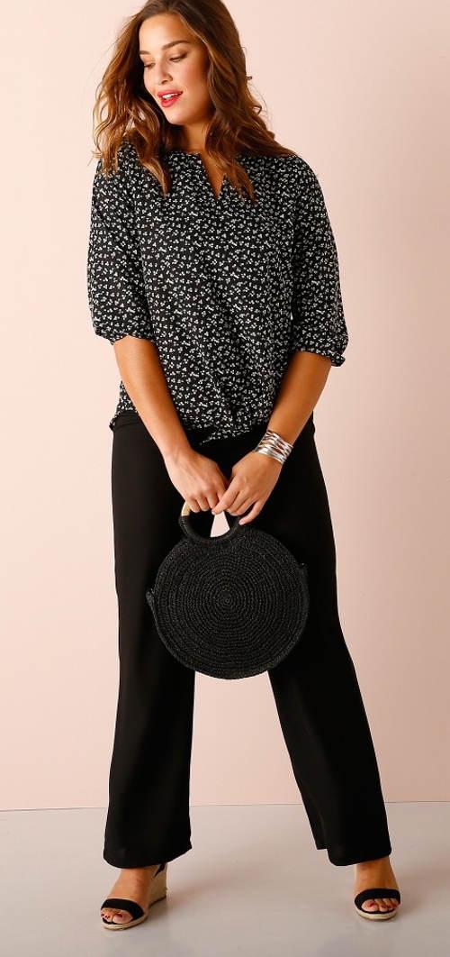 Jednobarevné černé dámské kalhoty nadměrných velikostí