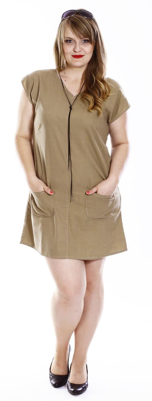 Letní lněné šaty pro plnoštíhlé