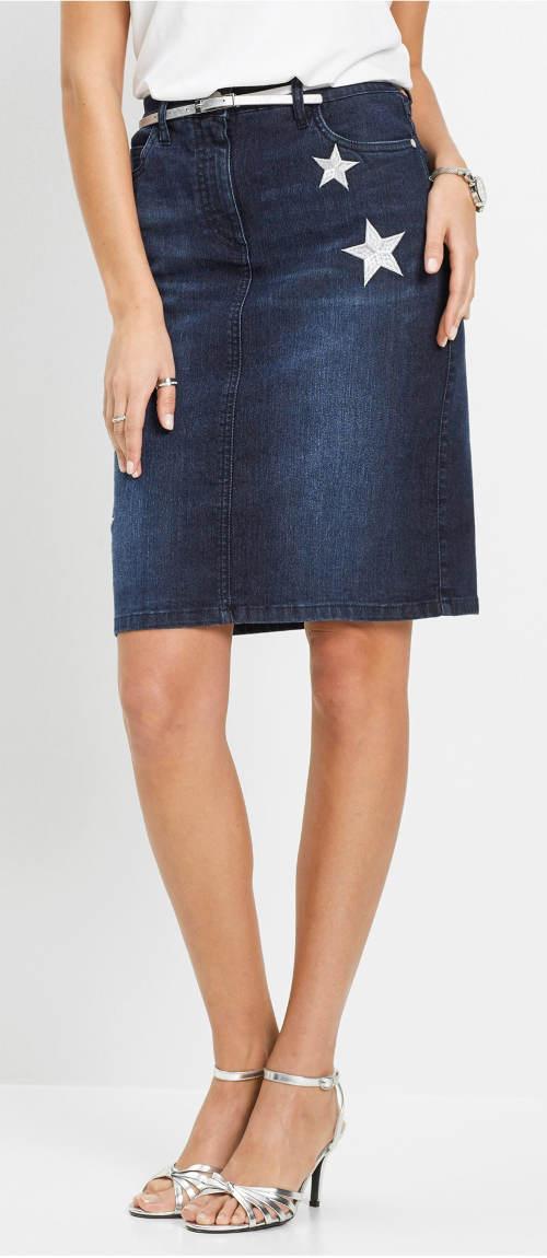 Levná džínová sukně pro plnoštíhlé