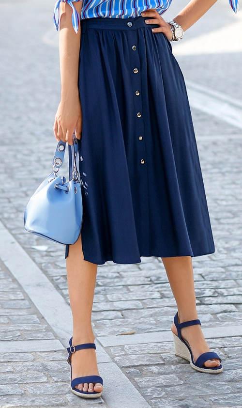 Modrá dámská midi sukně na patentky