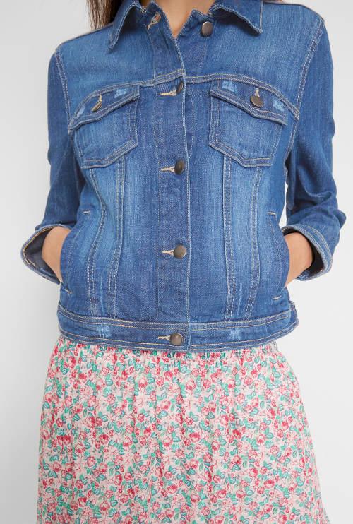 Modrá džínová bunda pro plnoštíhlé