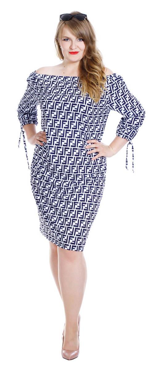 Modré letní šaty s širokou gumou přes ramena