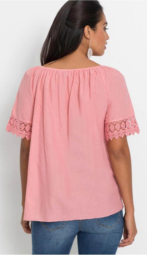 Růžová dámská halenka s krajkou