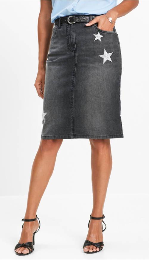 Šisovaná džínová sukně pro plnější tvary