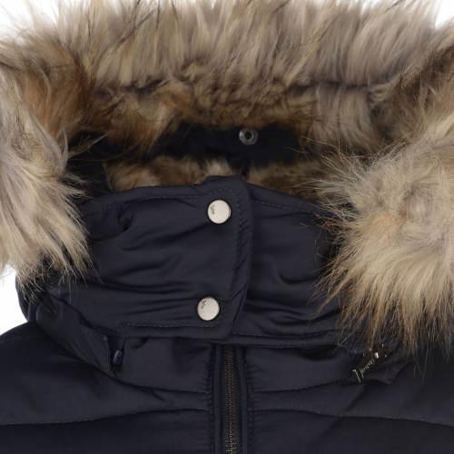 Tmavě modrá dámská zimní bunda s kožíškem