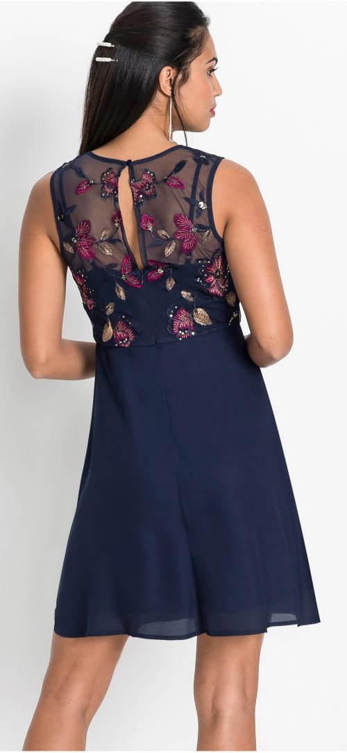 Tmavě modré plesové šaty s květinovou výšivkou