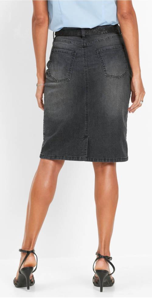 Tmavě šedá riflová sukně s drobným šisováním