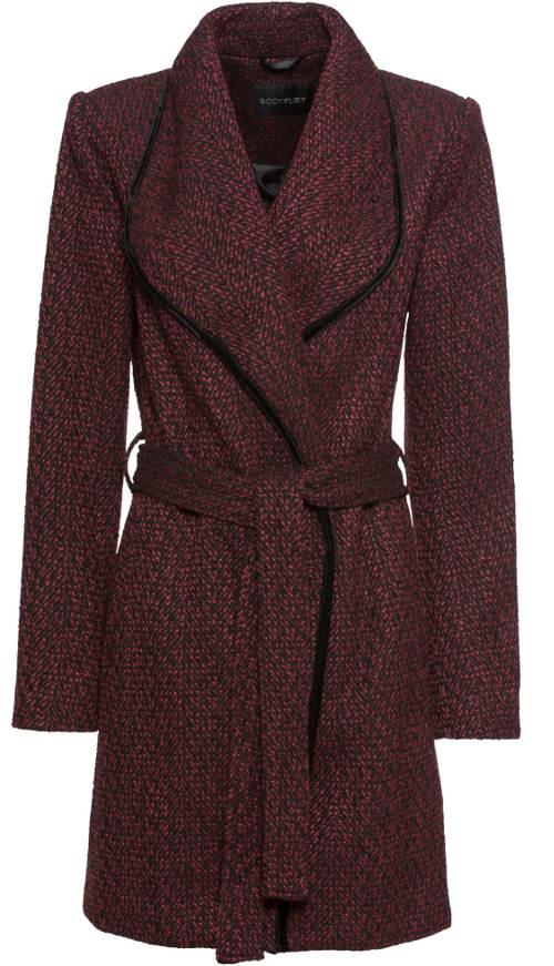 Vínový dámský zavinovací kabát