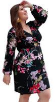 Zavinovací květinové šaty s dlouhými rukávy