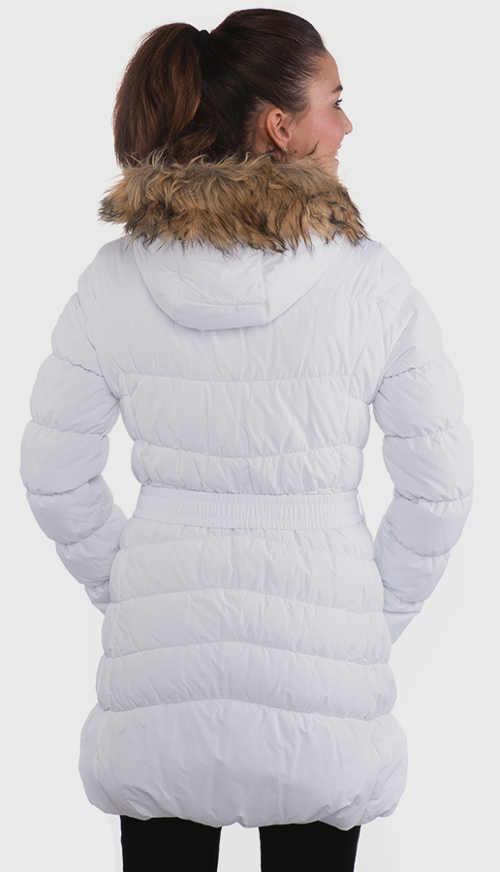 Bílá prodloužená dámská zimní bunda