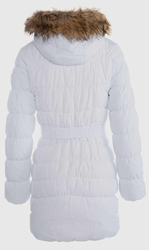 Dlouhá bílá dámská zimní bunda pro plnoštíhlé