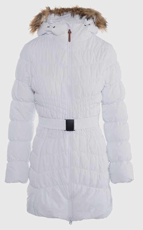 Dlouhá bílá dámská zimní bunda s opaskem