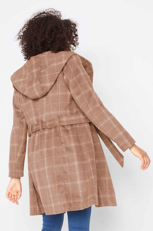 Béžový károvaný dámský kabát