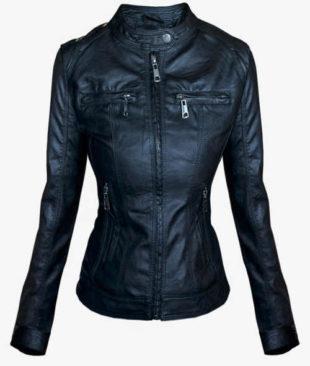 Černá koženková bunda pro plnoštíhlé