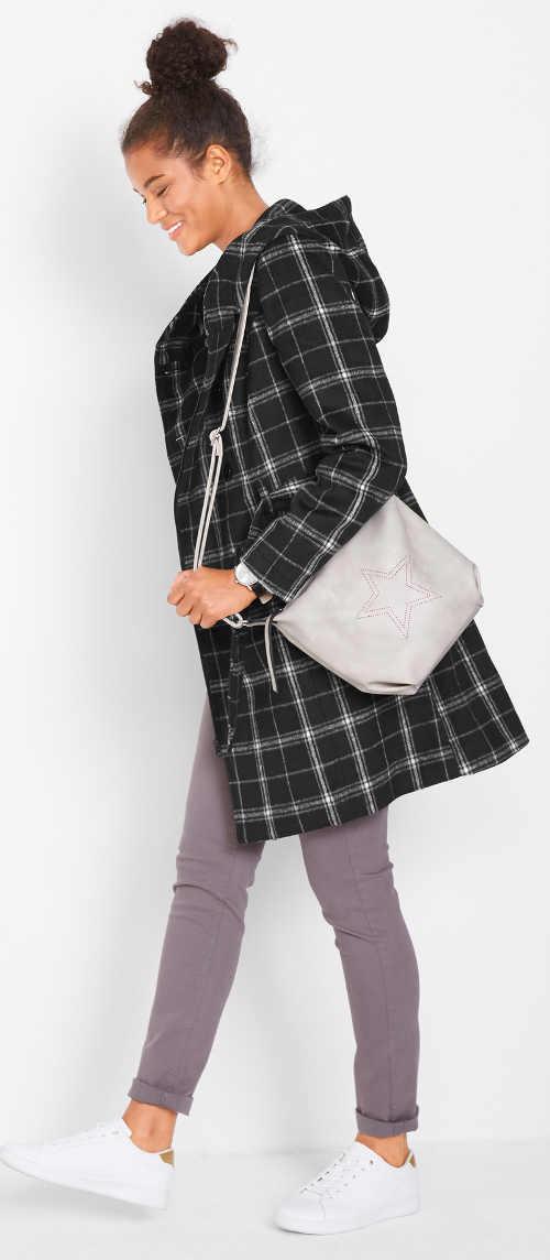 Černý kostkovaný dámský kabát