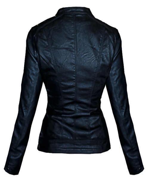 Dámská bunda z černé kůže