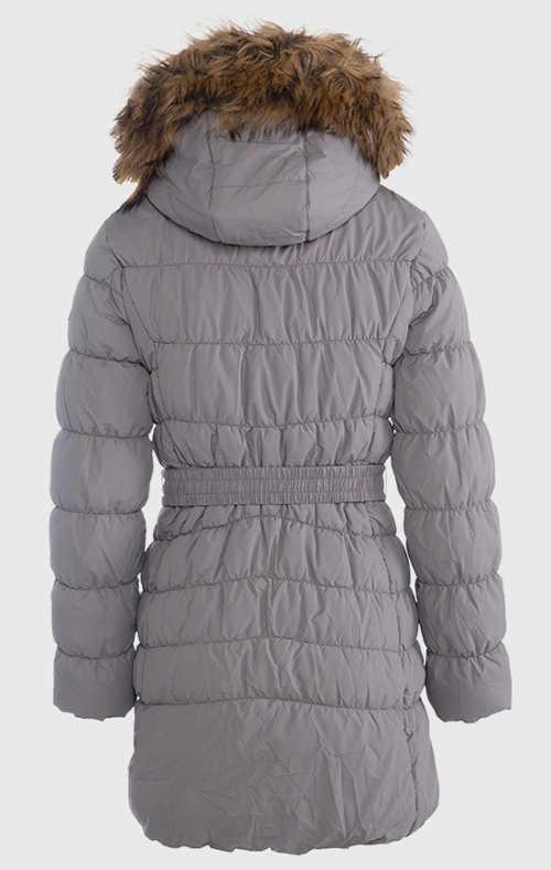 Dlouhá dámská zimní bunda s kožíškem na kapuci