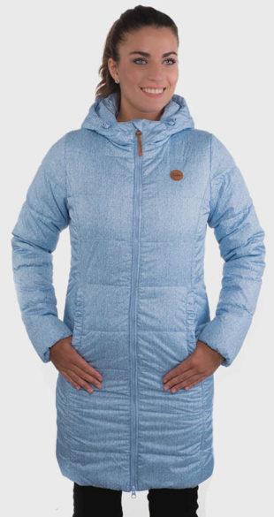 Dlouhá modrá dámská zimní bunda