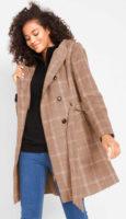 Krátký kostkovaný plus size kabát