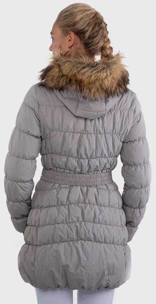 Prodloužená dámská zimní bunda s opaskem v pase