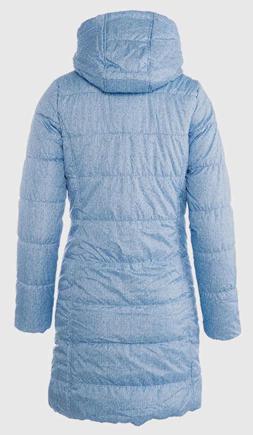 Prošívaný modrý dámský zimní kabát s kapucí