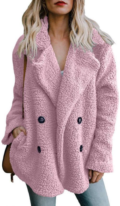 Růžový fleecový dámský kabát
