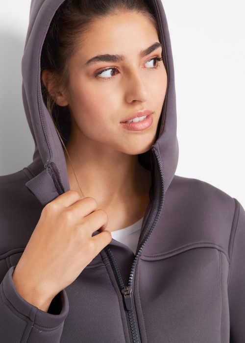 Šedá dámská funkční bunda s kapucí