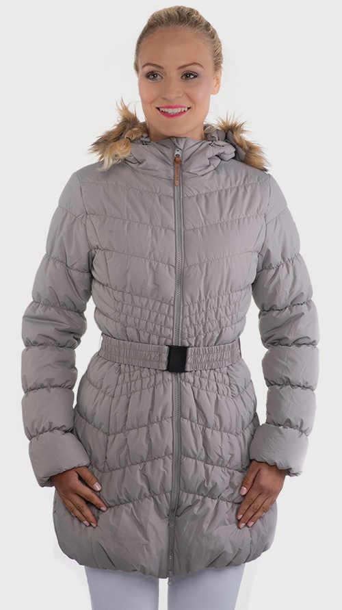 Zlevněná dámská šedá prošívaná zimní bunda