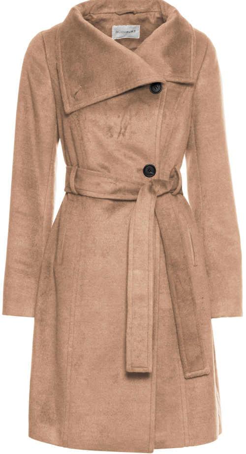 Béžový zimní kabát na knoflíky Bonprix