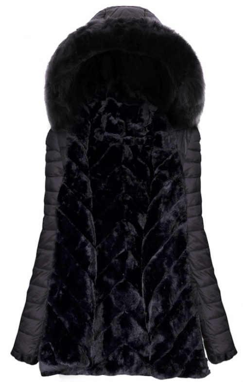 Černá prošívaná dámská zimní bunda s hřejivým kožíškem
