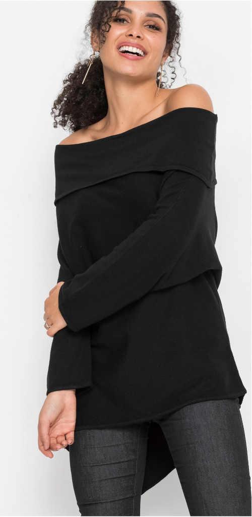 Černá tunika s odhalenýma ramena