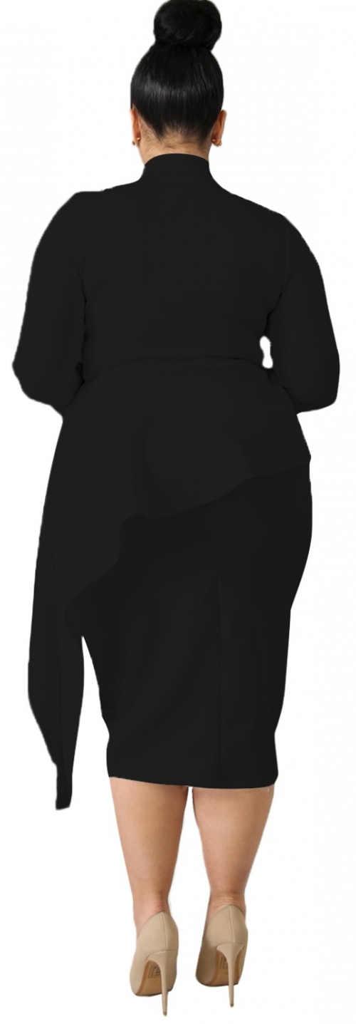 Černé dámské šaty s s asymetrickým vrstvením