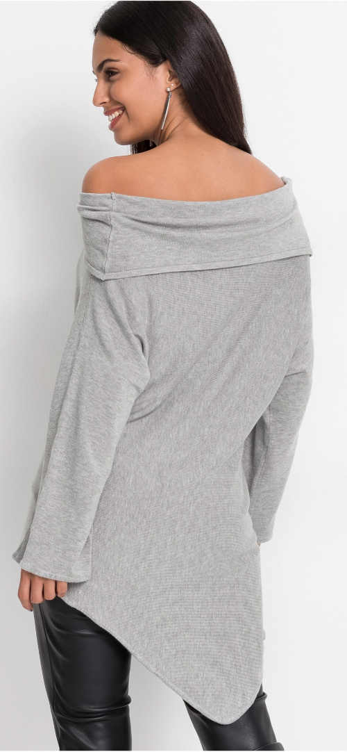 Dámské šedé asymetrické svetrové šaty