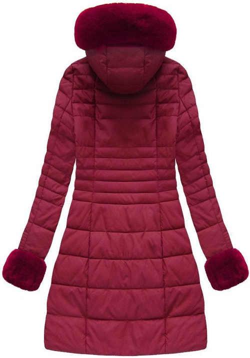 Dlouhá fialová prošívaná dámská zimní bunda