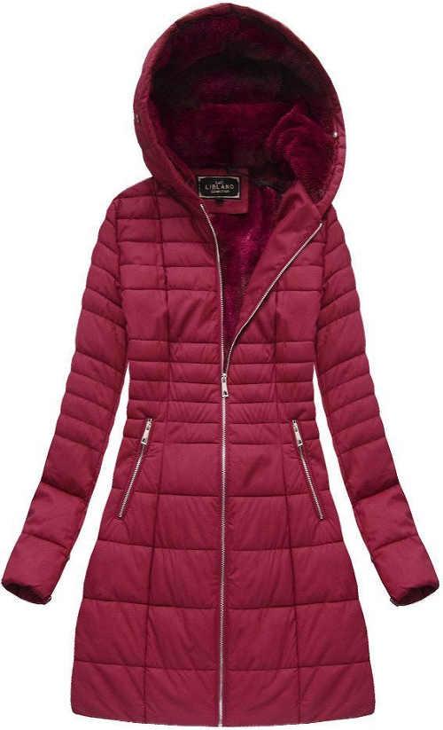 Fialová prošívaná dámská zimní bunda z měkké ekokůže