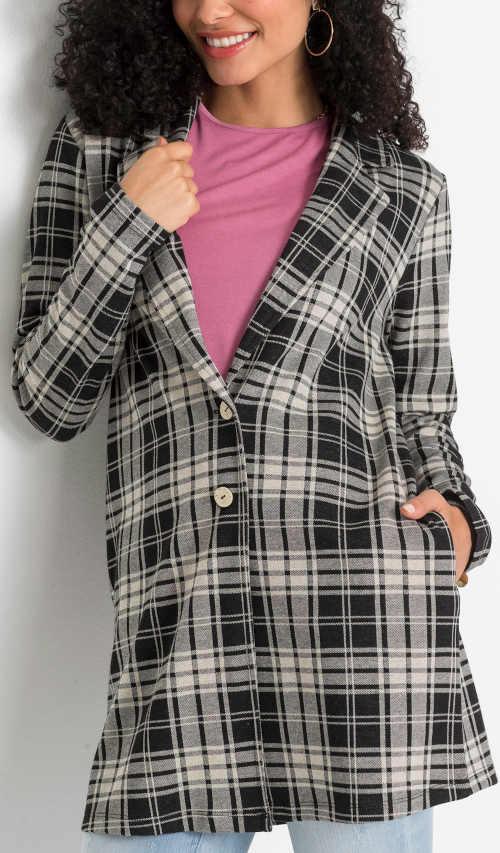 Kostkovaný jarní moderní dámský kabátek pro baculky