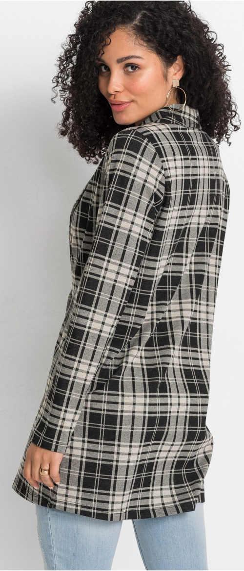Lehký dámský béžovo-černý kabátek