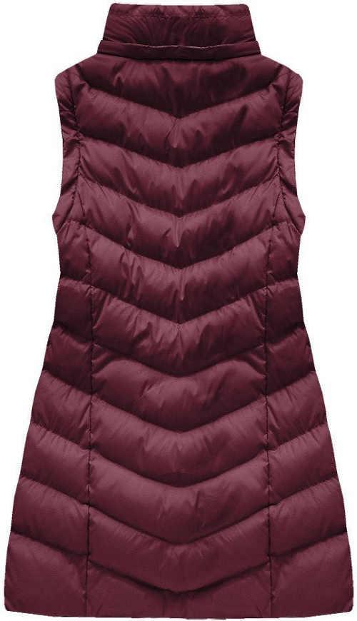 Prodloužená fialová dámská zimní vesta