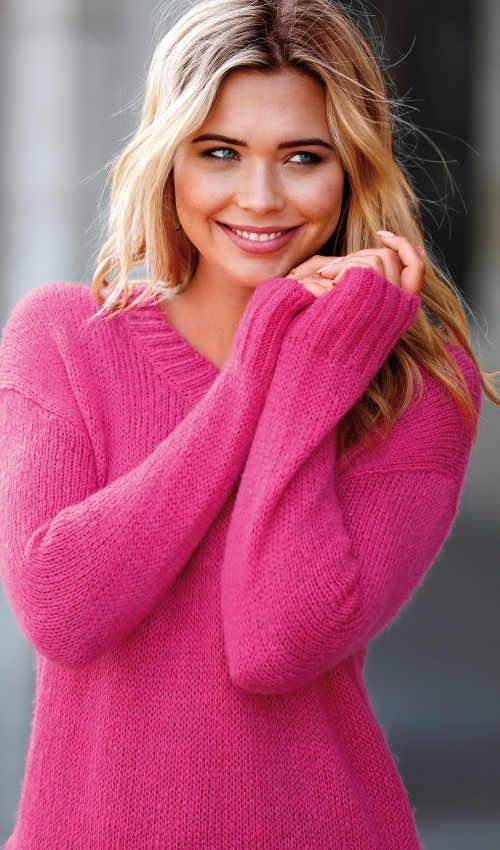 Růžový dámský pletený svetr