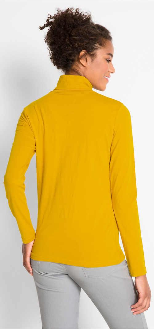 Žluté dámské tričko s rolákem a dlouhými rukávy
