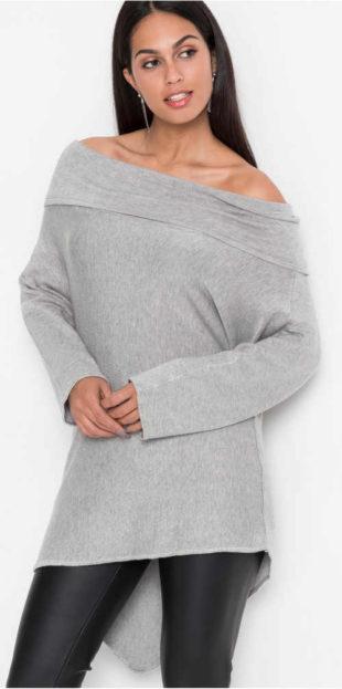 Asymetrický oversized dámský svetr Carmen s holými rameny