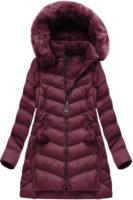 Bordó dámská zimní bunda s odepínacími rukávy