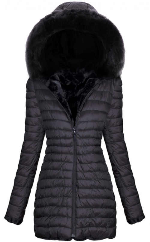 Černá prošívaná dámská bunda nadměrných velikostí