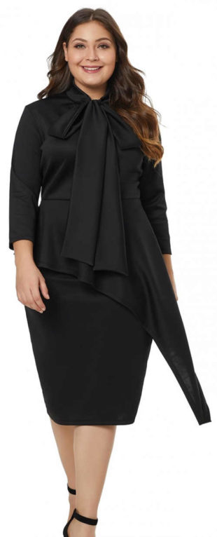 Černé XXXXL dámské šaty s velkou mašlí