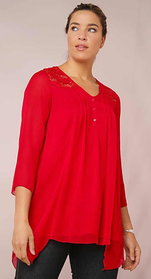 Červená dámská volná tunika s krajkou a cípy