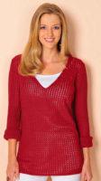 Červený ažurový pulovr pro plnoštíhlé