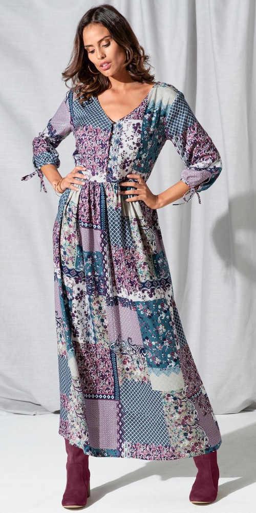 Dlouhé dámské šaty v patchwork designu